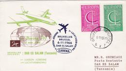 Enveloppe 1389 1390  Sabena 1ère Liaison Aérienne Bruxelles Dar Es Salam Tanzanie Avion Airplane Aircraft - Lettres & Documents