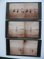 Lot 2 Photos Stéréo Baigneuses Et Baigneur Sur La Plage De BRAY DUNES  Juillet 1931 Nord 59 - Luoghi