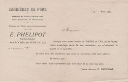 17 PONS E. PHELIPOT CARRIERES DE PONS AUX ROCHES - 1900 – 1949