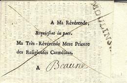 1781- Lettre De Décès ,en Franchise, De MOULINS S : B  -Lenain N°21  Pour Beaune - 1701-1800: Voorlopers XVIII