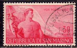 REPUBBLICA DI SAN MARINO 1948 LAVORO LABOUR LIRE 30 USATO USED OBLITERE' - Used Stamps