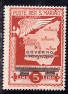 REPUBBLICA DI SAN MARINO 1943 GOVERNO PROVVISORIO POSTA AEREA AIR MAIL LIRE 5 MNH - Unused Stamps
