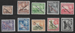 MALTA 1948 - 1953 VALUES TO 1s BETWEEN SG 234 AND SG 243 MOUNTED MINT Cat £17+ - Malta (...-1964)