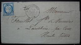 Champagnole Jura Gc 859 (Jura) Cachets De Passe 4169 Et 1307 à L'arrière Lettre Pour Laruchère Par Corre 1873 - 1849-1876: Classic Period