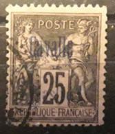 CAVALLE 1893, Type SAGE SURCHARGÉ, Yvert No 6, 25 C  Noir Sur Rose , Obl , TB CENTRAGE,  TB - Oblitérés