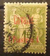 """CAVALLE 1893, Type SAGE SURCHARGÉ,Yvert No 8, 4 Piastres Sur 1 F Olive SUPERBE VARIETE """" Cavaile """" Obl,  TB - Oblitérés"""