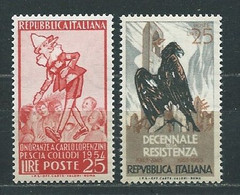 I111 ITALIA 1954  LORENZINI, 10° RESISTENZA II° Tipo  MNH ** - 1946-60: Nieuw/plakker