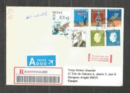 BELGIQUE - REGISTERED  Cover Traveled To SPAIN   - F 765 - Cartas