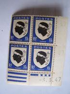 FRANCE 3-1-1947 Bloc Neuf De 4 Timbres CORSE - Neufs