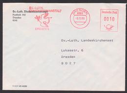 Taube Dove Dresden AFS Ev.-Luth Diakonissenanstalt, Ortsbrief 5.10.89mit Friedenstaube Vor Kreuz - Affrancature Meccaniche Rosse (EMA)