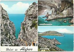 K4281 Saluti Da Alghero (Sassari) - Panorama Vedute Multipla - Golfo Porte Conte - Scala Del Cabirol / Viaggiata 1961 - Other Cities