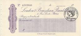 CHEQUE FRANCE BRAZIL LONDON AND BRAZILIAN BANK 1930'S PARIS - Cheques & Traverler's Cheques