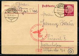 "German Empires,1943 GS Hindenburg Mi.Nr.P227 Mit Zensurstempel U.klaren Tstp.""Sautens ""1 GS Used - Lettres & Documents"
