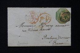 ROYAUME UNI - Devant D'enveloppe Pour La France En 1854, Affranchissement à Voir 1 Schilling Vert Foncé - L 85658 - Briefe U. Dokumente