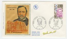 {68251} FDC Enveloppe 1er Jour , Soie , Louis Pasteur Institut Pasteur , Paris 06 Octobre 1973 , 0,50 + 0,10 Fr - 1970-1979