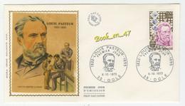 {68252} FDC Enveloppe 1er Jour , Soie , Louis Pasteur Vaccin Contre La Rage, Dole 06 Octobre 0973 , 0,50 + 0,10 Fr - 1970-1979