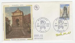 {68253} FDC Enveloppe 1er Jour , Soie , Europa 1978 Fontaine Des Innocents , Paris 06 Mai 1978 , 1,00 Fr - 1970-1979