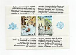 San Marino - 1989  - Foglietto Europa CEPT - Giochi Infantili - 2 Valori - Nuovo **- (FDC27928) - Blocks & Sheetlets