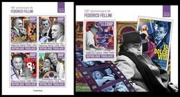 TOGO 2020 - Federico Fellini. M/S + S/S. Official Issue. [TG200353] - Cinema