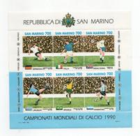 San Marino - 1990 - Foglietto Campionati Mondiali Di Calcio Italia 90  - 6 Valori - Nuovo ** - (FDC27930) - Blocks & Sheetlets