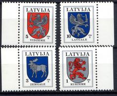 LETTONIE LATVIA 1994,  Armoiries Des Régions, 4 Valeurs, Neufs / Mint. 267 - Lettonie