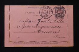 MAROC - Entier Postal Type Sage Surchargé, De Tanger Pour Yvert Et Tellier à Amiens En 1903 - L 85684 - Covers & Documents