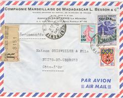 20C SEMEUSE PIEL SURCHARGE 10 CFA 50F/ 1F REUSNION 2F / 5C AMIENS TARIF LETTRE RECOMMANDEE / FRANCE 7/12/64 - Briefe U. Dokumente