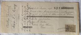 Chèque 1898 Outillage Industriel KRON Fres & LEROY Bd Malesherbes H. Virton Rue Louis Blanc Paris Timbre 25c 400F à 500F - Cheques & Traverler's Cheques