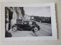 LE BLANC 36 PHOTO ANCIENNE D'UNE TRACTION CITROEN AVEC PUBLICITE - Professions