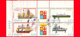 ITALIA - Usato - 1977 - Navi - 1ª Emissione -  4 X 170 L. • Serie Completa - Hojas Bloque