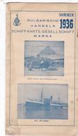 Bulgarische Handels Schiffahrts- Gesell Schaft  WARNA  - 1936 G - 22 X 60 Cm - Tourism Brochures