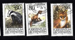 Liechtenstein 1993 Mi Nr 1066 - 1068, Dieren, Animal, Das, Steenmarter, Rode Vos, Badger, Stone Marten, Red Fox - Usados