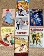 Lot De 7 CPM Publicitaires (vélo, Bicyclette, Vélocipède) : Novelty, Clément, Griffon, Rexor, Peerless, Elan,  Brossard - Ciclismo