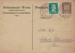 Perfin Lochung Cronenberg Stahlschmidt Werke KG 1937 - Schiller - Neuer Reichsadler - Rs: Uhrmacherhämmer - Covers & Documents