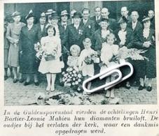 KORTRIJK..1939.. DIAMANTEN BRUILOFT BIJ DE ECHTELINGEN HENRI BARTIER - LEONIE MAHIEU - Zonder Classificatie