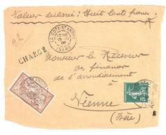 LA COTE St ANDRE Isère Devant Document CHARGE 50c Merson 5c Semeuse Verte Yv 120 137 Ob 1909 - Briefe U. Dokumente