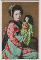 Old Post Card   :  Maiko Girl Of Kyoto  Geisha Apprentice And Her Doll   Poupée Japonaise - Kyoto