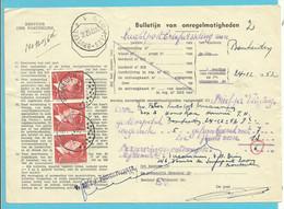 """910 (De Bast) Op BULLETIJN VAN ONREGELMATIGHEDEN / """"Luchtpostbriefwisseling"""", Stempel BONHEIDEN (zeldzaam Dokument) - Briefe U. Dokumente"""