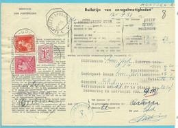 """846+848+859 Op BULLETIJN VAN ONREGELMATIGHEDEN / """"Luchtpostbriefwisseling"""", Stempel  OUDE-GOD (zeldzaam Dokument) - Briefe U. Dokumente"""