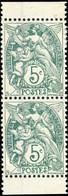 FRANCE - 1900 Yv.111f Type Blanc 5c Vert T.IB Paire Verticale De Carnet - Neuf*/** - TB - 1900-29 Blanc