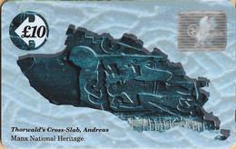 Isle Of Man - GPT, 16IOMA, Thorwald's Cross, Holograms, 10 £, 4,968ex, 1992, Mint Or VVF Used - Isla De Man