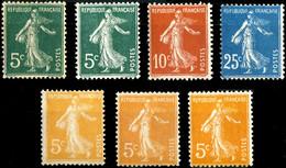 FRANCE - 1906-21 Semeuse Camée - Selection De 7 Timbres Neufs **/* - TB - 1906-38 Semeuse Camée