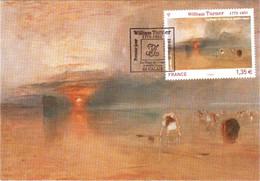 Carte Maximum YT 4438 William TURNER, La Plage De Calais à Marée Basse, 1er Jour 19 02 2010 TBE Cachet CALAIS (62) - 2010-...