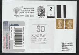 Great Britain Special Delivery Cover 2004 Athens Olympic Games - SmartStamp London Global Torch Relay + ATM (G122-1) - Estate 2004: Atene