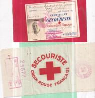 Guerre 1939-45 - CROIX-ROUGE Carte De Secouriste De 1943 N° 25577 Et Son  Brassard Tissu Soyeux 10 X 21 Cm Mme LAGRANGE - War 1939-45