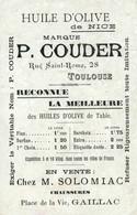 Publicité Huile D'Olive De Nice P. Couder (Toulouse) Avec Carte Illustrée (illustration Semailles) - Pubblicitari