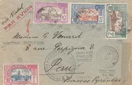 GUADELOUPE YT 114 + 118 + 120 + 121 SUR LETTRE AVION VIA NATAL BASSE TERRE 1940 + CONTROLE POSTAL POUR PAU - Covers & Documents