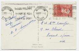 SURTAXE 40C PUVIS   SEUL CARTE LES SABLES D'OLONNE 16.VIII.1939 AU TARIF RARE - 1921-1960: Modern Period