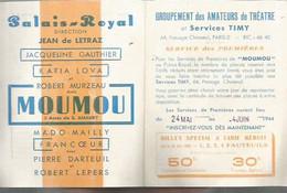 TC Vintage Program Théater / Feuillet Publicitaire PROGRAMME Théâtre MOUMOU 1944 LOVA Gauthier - Programma's