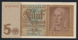Pick186a  Ro179a DEU-220a.  5 Reichsmark 1942  AUNC - 5 Reichsmark
